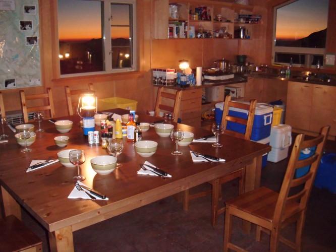 Inside the Haberl Hut.