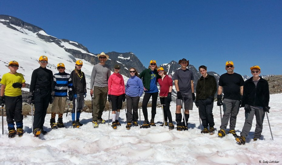 The 2013 team puts their best foot forward...crampons too.