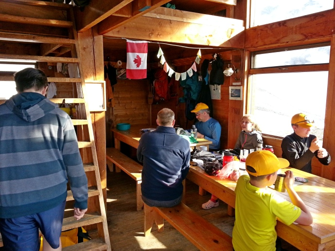 The cooking and eating areas of the Asulkan Hut are downstairs and the bunks are upstairs.
