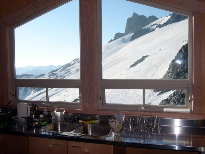The view from the Haberl Hut's kitchen.