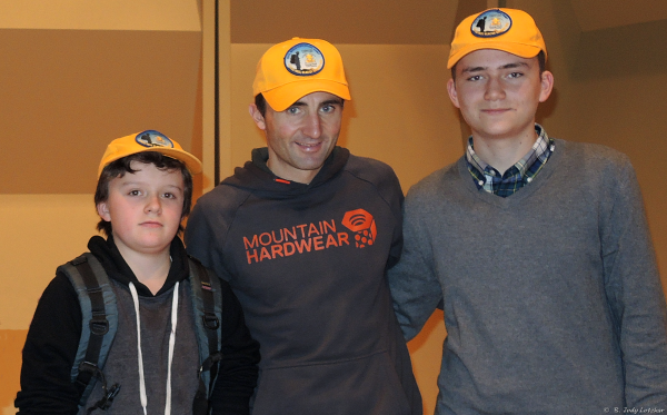 "World famous climber Ueli Steck ""The Swiss Machine"" (speed ascents of the Eiger Nordwand and Annapurna South Face) sporting one of our 2014 Mountaineering Camp team hats (with Mountaineer Scouts Kier and Simon)."